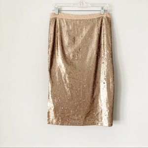 NWT Ina Rose Gold Sequin Pencil Skirt L